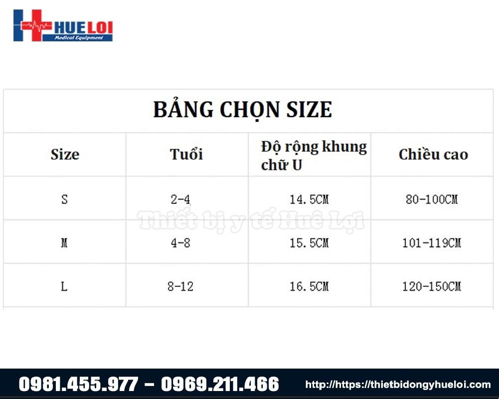 bảng chọn các kích thước của nẹp
