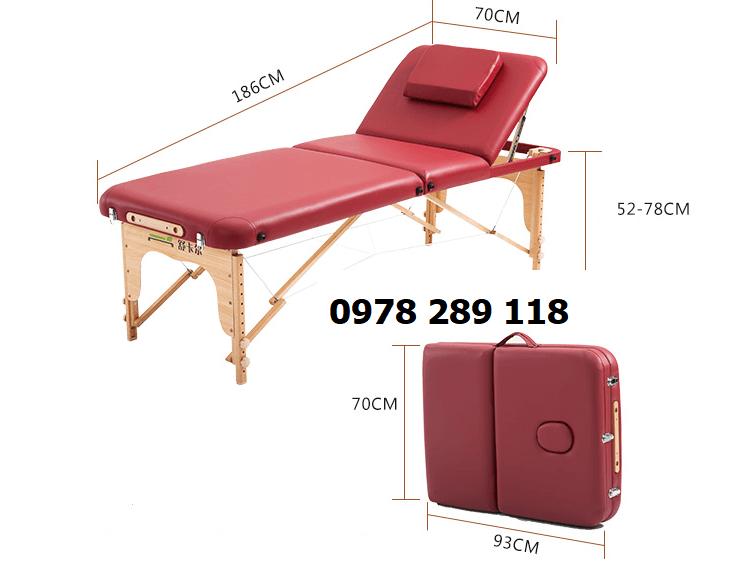 giường spa dạng vali chân gỗ